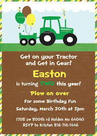 Green Tractor Birthday Party Invite And Thank You Cards Printable Invitations John Deere Party Cumpleanos Cumpleanos Del Tractor Invitaciones De Fiesta D