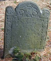 Bradford Burial Ground: Abigail Day (1738) Widow of Moses Day Map Site # 555