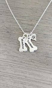 dog bone necklace with dog paw charm