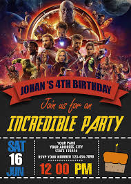 Avengers Infinity War Birthday Party Invitation Formatos Para