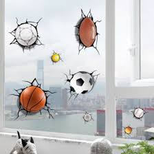 Shop 3d Soccer Ball Wall Sticker Decal Kids Room Decoration Football Broken Crack Online From Best Wall Stickers Murals On Jd Com Global Site Joybuy Com