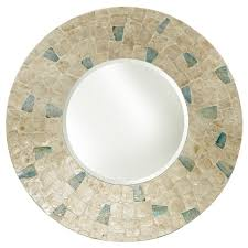 32 round white capiz with blue mother
