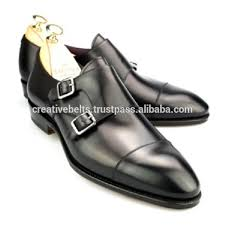 double monk black mens genuine leather