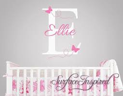 Nursery Wall Decals Ellie With Flying Butterfles Name Wall Decal Nursery Wall Decals Girl Nursery Wall Decals Baby Nursery Wall Decals