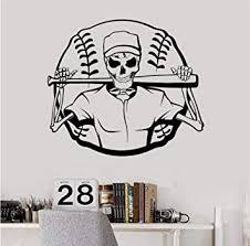 Amazon Com Vinyl Wall Decal Skeleton Baseball Ball Sports Stickers Mural Home Decor Wall Decals Living Design Wall Sticker 58 X 66 Cm Baby