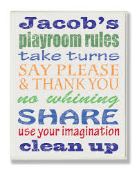 Stupell Industries Kids Room Personalization Boy S Typography Playroom Rules Canvas Art Reviews Wayfair