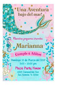 Magicas Creaciones Invitacion Digital Cumpleanos Ninas Pequena Sirenita 80 00
