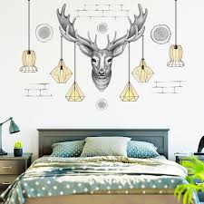 Large Chandelier Deer Head Wall Stickers For Bedroom Office Tv Background Self Adhesive Wall Decals Art Home Decor Wall Stickers Aliexpress