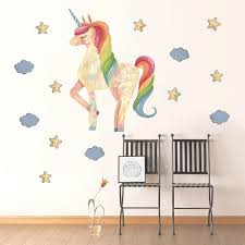 Watercolor Stars Cloud Unicorn Wall Stickers Pvc Removable Wall Decals For Home Decoration Papers For Kids Room Decor Self Adhesive Wall Stickers Shop Wall Decals From Qiansuning88 65 81 Dhgate Com