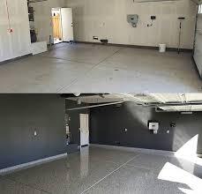 residential garage chip floor before
