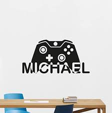 Amazon Com Carolgreydecals Personalized Name Gaming Wall Decal Custom Video Game Gamepad Playroom Vinyl Sticker Gamer Xbox Ps Pc Home Office Kids Living Room Decor Nursery Art Design Bedroom Mural 107quo Home