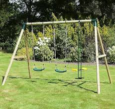 rebo kids wooden garden swing set
