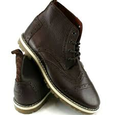mens leather brogue ankle boots sz 9