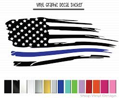 Blue Lives Matter Usa Flag Black With Blue Line Vinyl Graphic Decal By Shop Vinyl Design Shop Vinyl Design