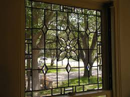 clear antique glass and bevels leaded