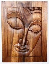 hand carved wood buddha wall decor