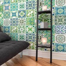 Shop Walplus Tile Stickers Peel And Stick Turkish Green Mosaic Wall Sticker Decal 12pcs 8 Overstock 31665136