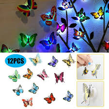 Tsv 12pcs 3d Luminous Butterfly Wall Stickers Decor Art Decorations Led Butterfly Wall Decals Removable Diy Home Decorations Art Decor Wall Stickers For Wall Decor Home Art Kids Room Bedroom Decor