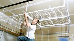 install a overhead garage storage rack