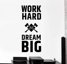 Wall Decal Motivation Quotes Work Hard Dream Big Home Interior Unique Wallstickers4you