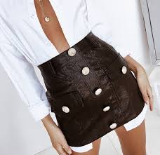 classy black leather skirt featuring