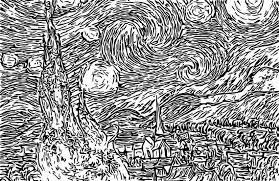 Anti Stress Kleurplaten Van Gogh Sterrennacht 1