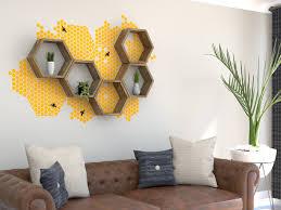 Honeycomb Hexagon Shelf Vinyl Wall Decal Set Contemporary Living Room Oxfordshire By Bespoak Interiors