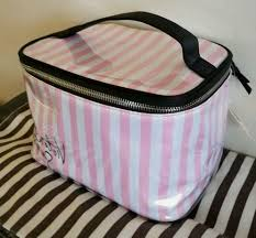 cosmetic bag train case pink white stripes