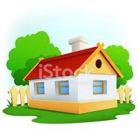 Cartoon Rural House With Among Trees And Fence Clipart Images