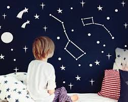 Moon And Stars Wall Decals Crescent Moon Wall Decor Nursery Moon Decal Moon Bedroom Decal Night Sky Wall Decal Vinyl Decals 142 Moon Decal Star Wall Decals Constellation Wall Decal