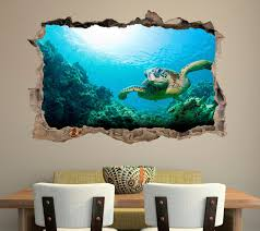 Sea Turtle 3d Smashed Broken Decal Wall Sticker J388 Decalz Co