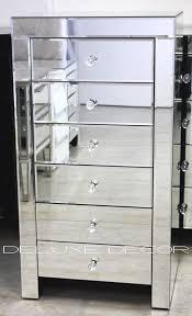 mirror 6 drawer narrow slim chest tall
