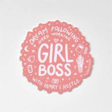 Girl Boss Pink Lettering Vinyl Waterproof Sticker Annotated Audrey