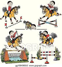 Vector Stock Set Of Cartoon Horse Jumping Show Clipart Illustration Gg108498053 Gograph
