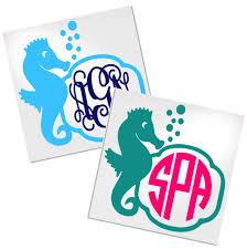 Seahorse Monogram Decal For Cup Car Or Laptop Decals By Adavis