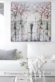 Giclee Print Art Painting Couple Umbrella Rain Pink Cherry Trees Decor Contemporary Art By Christine