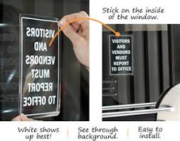 Visitor Decals Clear Or White Glass Window Door Decals