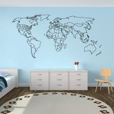 Large World Map Wall Decal World Contour Outlined Countries And United States World Map Wall Decals Vinyl Home Decor Mural Z905 Wall Stickers Aliexpress