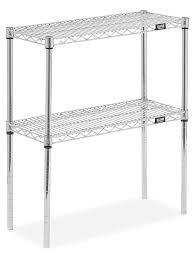 Two Shelf Wire Shelving Unit 30 X 12 X 34 Chrome H 8024 34c Uline