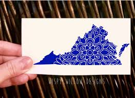 Virginia State Mandala Vinyl Decal Sticker Floral Mandala Va Car Decal Va Decal Va Sticker Virginia Car Sticker Mandala State Vinyl Decals Vinyl Mandala