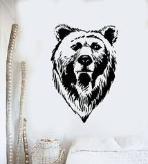 Vinyl Wall Decal Bear Head Grizzly Tribal Predator Animal Stickers Mural G1467 Ebay