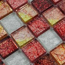 red white and gold glass mosaic tile
