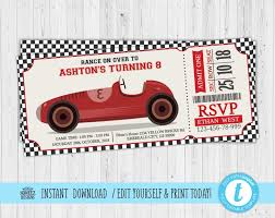 Race Car Invitation Race Car Birthday Invitation Race Car Party