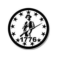 White Round 1776 Minuteman 13 Stars Sticker Decal Minutemen Border Patriot 4 X 4 Inch Walmart Com Walmart Com