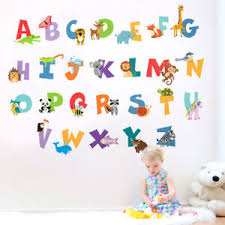 Animals Alphabet Wall Decal Sticker Letters Abc Lettering Playroom Decor Ebay