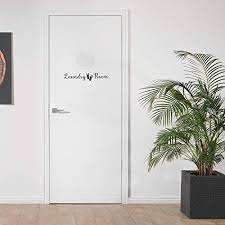 Black Laundry Door Decal With Clothes Pins Decal With Accent Laundry Room Vinyl Wall Decal Wall Stickers