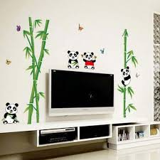 New Pvc Cute Panda Bamboo Wall Stickers For Kids Room Home Living