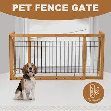 Indoor Solid Wood Pet Fence Gate Free Standing Dog Gate Adjustable Wish