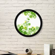Four Leaf Clover Mew Watermark Ireland St Patrick S Day Round Simple Picture Frame Art Prints Of Paintings Home Wall Decal Diythinker