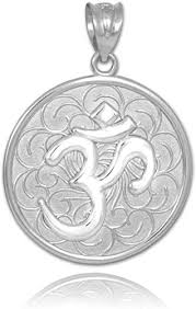 white gold om aum medallion pendant